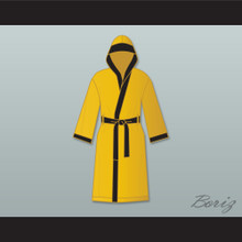 Evander 'Real Deal' Holyfield Gold Satin Full Boxing Robe with Hood