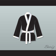 Jake Lamotta Black Satin Half Boxing Robe