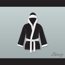 Jake Lamotta Black Satin Half Boxing Robe with Hood