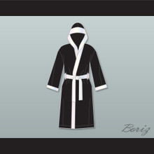 Jake Lamotta Black Satin Full Boxing Robe with Hood