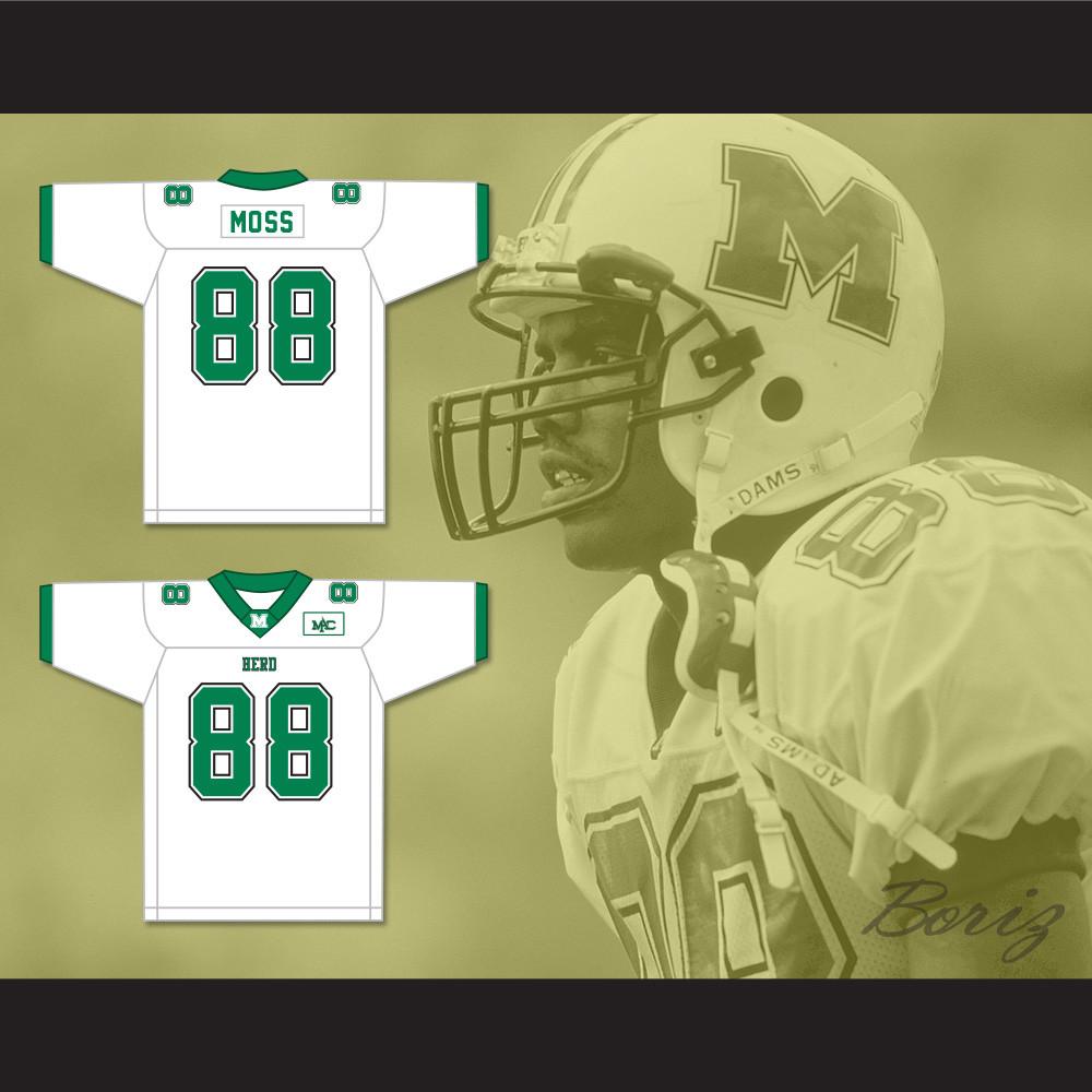 sale retailer f9420 8988c Randy Moss 88 Marshall Herd White Football Jersey