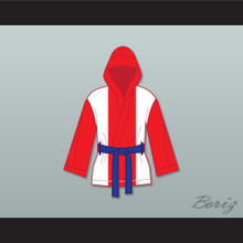 Miguel Cotto Puerto Rican Flag Satin Half Boxing Robe with Hood