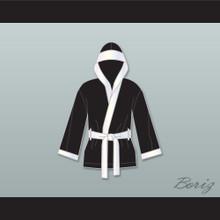 Joe Calzaghe Black Satin Half Boxing Robe with Hood