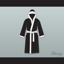 Joe Calzaghe Black Satin Full Boxing Robe with Hood
