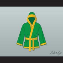 Smokin' Joe Frazier Green Satin Half Boxing Robe with Hood