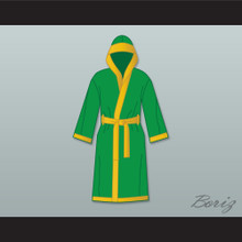 Smokin' Joe Frazier Green Satin Full Boxing Robe with Hood