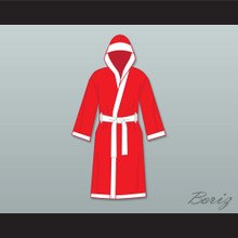 The World's Greatest Lover Red Satin Full Boxing Robe with Hood