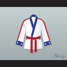 Adonis 'Creed' Johnson White Satin Half Boxing Robe Creed II