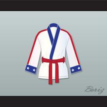 Adonis 'Creed' Johnson White Satin Half Boxing Robe Creed II