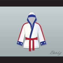 Adonis 'Creed' Johnson White Satin Half Boxing Robe with Hood Creed II