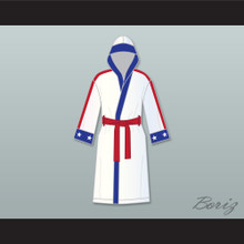 Adonis 'Creed' Johnson White Satin Full Boxing Robe with Hood Creed II