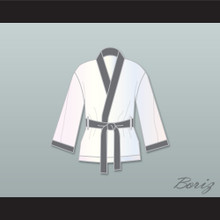 Viktor Drago White and Gray Satin Half Boxing Robe Creed II