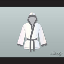 Viktor Drago White and Gray Satin Half Boxing Robe with Hood Creed II
