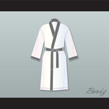 Viktor Drago White and Gray Satin Full Boxing Robe Creed II
