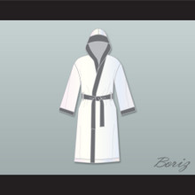 Viktor Drago White and Gray Satin Full Boxing Robe with Hood Creed II