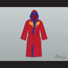 Viktor Drago Red Satin Full Boxing Robe with Hood Creed II