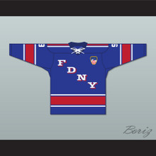 FDNY Bravest 9 Blue Tie Down Hockey Jersey with Patch