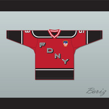 FDNY Bravest 9 Red Hockey Jersey Design 1 with Patch