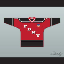 FDNY Bravest 9 Red Hockey Jersey Design 2 with Patch