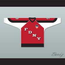 FDNY Bravest 9 Red Hockey Jersey Design 3 with Patch