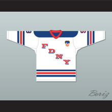 FDNY Bravest 9 White Hockey Jersey Design 1 with Patch
