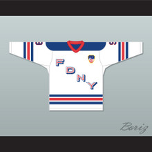 FDNY Bravest 9 White Hockey Jersey Design 2 with Patch