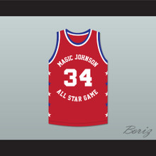 Charles Oakley 34 Magic Johnson All Star Game Red Basketball Jersey 1990 Midsummer Night's Magic Charity Event