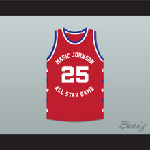 Jerome Kersey 25 Magic Johnson All Star Game Red Basketball Jersey 1990 Midsummer Night's Magic Charity Event