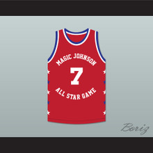 Kevin Johnson 7 Magic Johnson All Star Game Red Basketball Jersey 1990 Midsummer Night's Magic Charity Event