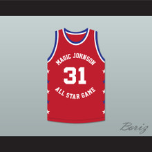 Kurt Rambis 31 Magic Johnson All Star Game Red Basketball Jersey 1990 Midsummer Night's Magic Charity Event