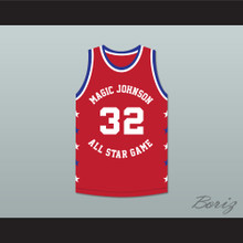 Magic Johnson 32 Magic Johnson All Star Game Red Basketball Jersey 1990 Midsummer Night's Magic Charity Event