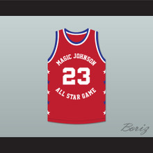 Michael Jordan 23 Magic Johnson All Star Game Red Basketball Jersey 1990 Midsummer Night's Magic Charity Event