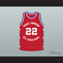 Rolando Blackman 22 Magic Johnson All Star Game Red Basketball Jersey 1990 Midsummer Night's Magic Charity Event