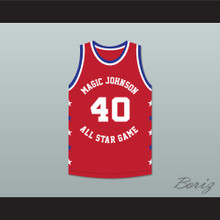 Shawn Kemp 40 Magic Johnson All Star Game Red Basketball Jersey 1990 Midsummer Night's Magic Charity Event