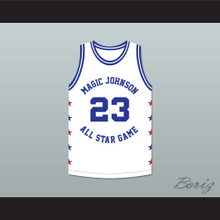 Mark Aguirre 23 Magic Johnson All Star Game White Basketball Jersey 1990 Midsummer Night's Magic Charity Event