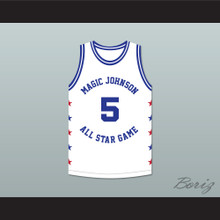 Danny Manning 5 Magic Johnson All Star Game White Basketball Jersey 1990 Midsummer Night's Magic Charity Event