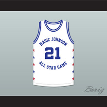 Dominique Wilkins 21 Magic Johnson All Star Game White Basketball Jersey 1990 Midsummer Night's Magic Charity Event
