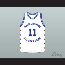 Isiah Thomas 11 Magic Johnson All Star Game White Basketball Jersey 1990 Midsummer Night's Magic Charity Event