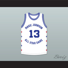 Mark Jackson 13 Magic Johnson All Star Game White Basketball Jersey 1990 Midsummer Night's Magic Charity Event