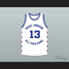 Mark Jackson 13 Magic Johnson All Star Game White Basketball Jersey 1990 Midsummer Night's Magic Charity Event