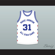 Reggie Miller 31 Magic Johnson All Star Game White Basketball Jersey 1990 Midsummer Night's Magic Charity Event