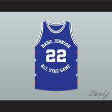 Clyde Drexler 22 Magic Johnson All Star Game Blue Basketball Jersey 1989 Midsummer Night's Magic Charity Event