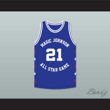 Dominique Wilkins 21 Magic Johnson All Star Game Blue Basketball Jersey 1989 Midsummer Night's Magic Charity Event