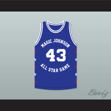 Frank Brickowski 43 Magic Johnson All Star Game Blue Basketball Jersey 1989 Midsummer Night's Magic Charity Event