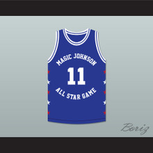 Isiah Thomas 11 Magic Johnson All Star Game Blue Basketball Jersey 1989 Midsummer Night's Magic Charity Event