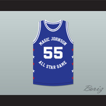 Kiki VanDeWeghe 55 Magic Johnson All Star Game Blue Basketball Jersey 1989 Midsummer Night's Magic Charity Event