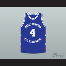 Spud Webb 4 Magic Johnson All Star Game Blue Basketball Jersey 1989 Midsummer Night's Magic Charity Event