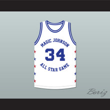Charles Barkley 34 Magic Johnson All Star Game White Basketball Jersey 1989 Midsummer Night's Magic Charity Event