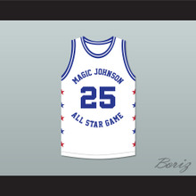 Jerome Kersey 25 Magic Johnson All Star Game White Basketball Jersey 1989 Midsummer Night's Magic Charity Event