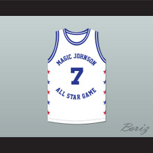 Kevin Johnson 7 Magic Johnson All Star Game White Basketball Jersey 1989 Midsummer Night's Magic Charity Event